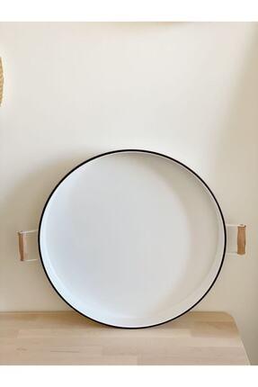 Dekorzdükkan Beyaz Country Tarzı Dekoratif Tepsi 52 cm 1