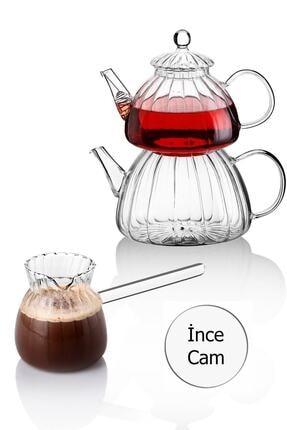Paçi Borasilikat Cam Çaydanlık Ve Cam Cezve Seti 0