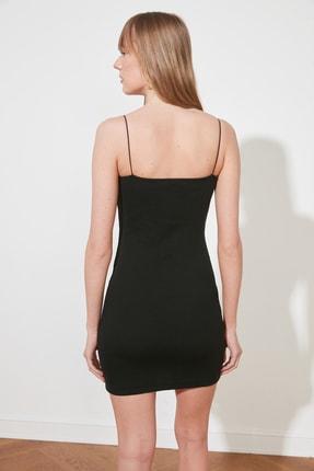 TRENDYOLMİLLA Siyah Askılı Bodycon Mini Örme Elbise TWOSS21EL2327 4