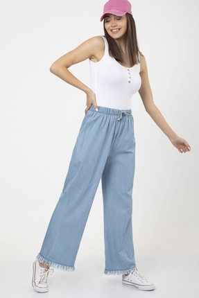 MD trend Kadın Mavi Bel Lastikli Bol Paça Rahat Kalıp Jean Kot Pantolon 3