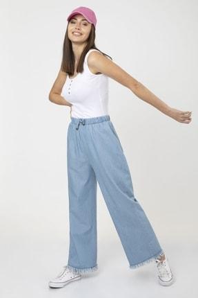 MD trend Kadın Mavi Bel Lastikli Bol Paça Rahat Kalıp Jean Kot Pantolon 4