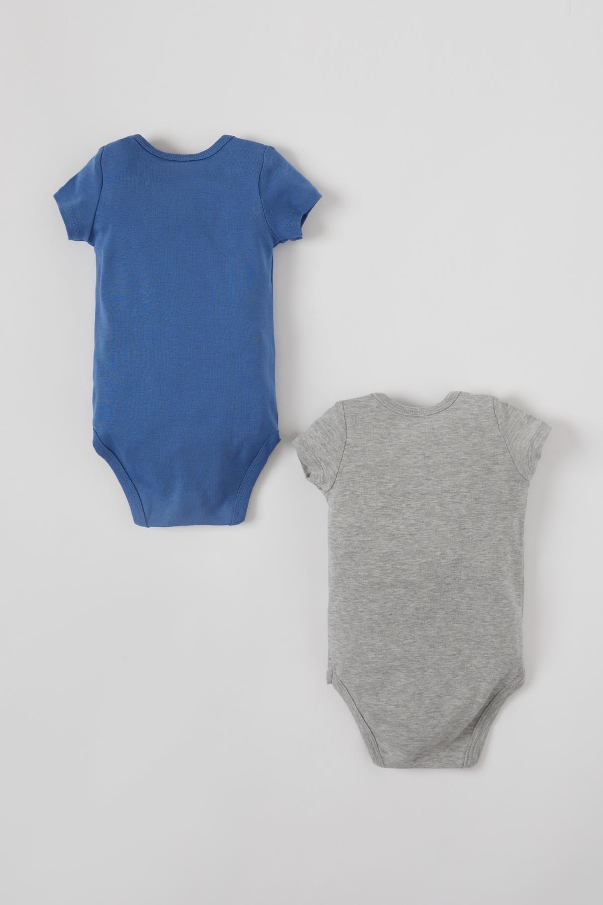 Defacto Erkek Bebek Basic Kısa Kol 2'li Çıtçıtlı Pamuklu Body 1
