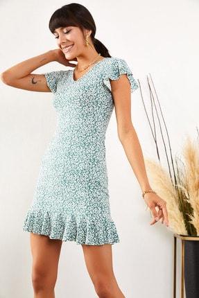 Olalook Kadın Mint Çiçekli Kolu ve Eteği Fırfırlı Kaşkorse Elbise ELB-19001407 0