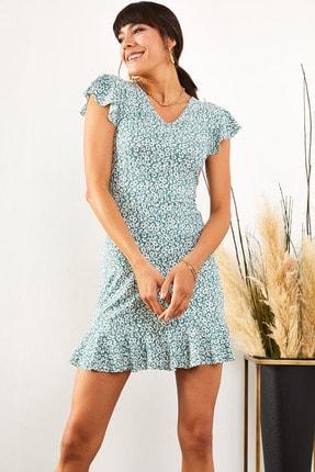 Olalook Kadın Mint Çiçekli Kolu ve Eteği Fırfırlı Kaşkorse Elbise ELB-19001407 1