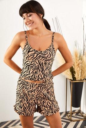 Olalook Kadın Zebra Askılı Fırfırlı Pijama Takımı TKM-19000076 1