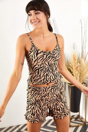 Olalook Kadın Zebra Askılı Fırfırlı Pijama Takımı TKM-19000076 2