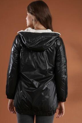Pattaya Kadın Pul Payet Detaylı Içi Kürklü Kapşonlu Mont Y20w110-5103 4