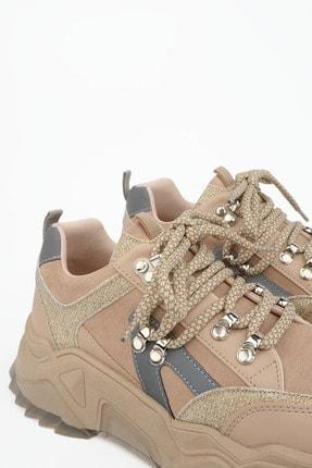Marjin Kadın Bej Sneaker Dolgu Topuk Spor Ayakkabı Aletta 4