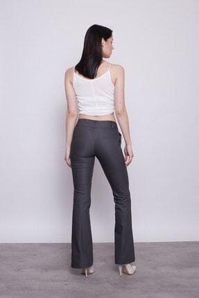 Jument Kadın Antrasit Kalın Kemerli Cepli Ispanyol Bol Paça Likralı Kumaş Pantolon 2