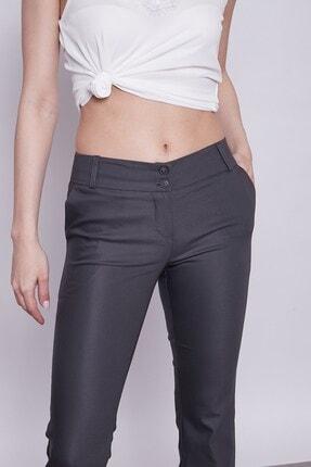Jument Kadın Antrasit Kalın Kemerli Cepli Ispanyol Bol Paça Likralı Kumaş Pantolon 4