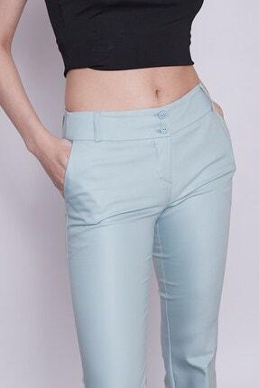 Jument Kadın Mint Kalın Kemerli Cepli Ispanyol Bol Paça Likralı Kumaş Pantolon 4
