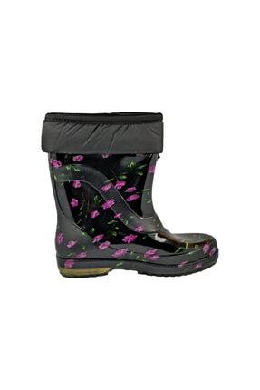 Mor Çiçekli Yünlü Çizme Kar & Yağmur Çizmesi fafataraMor