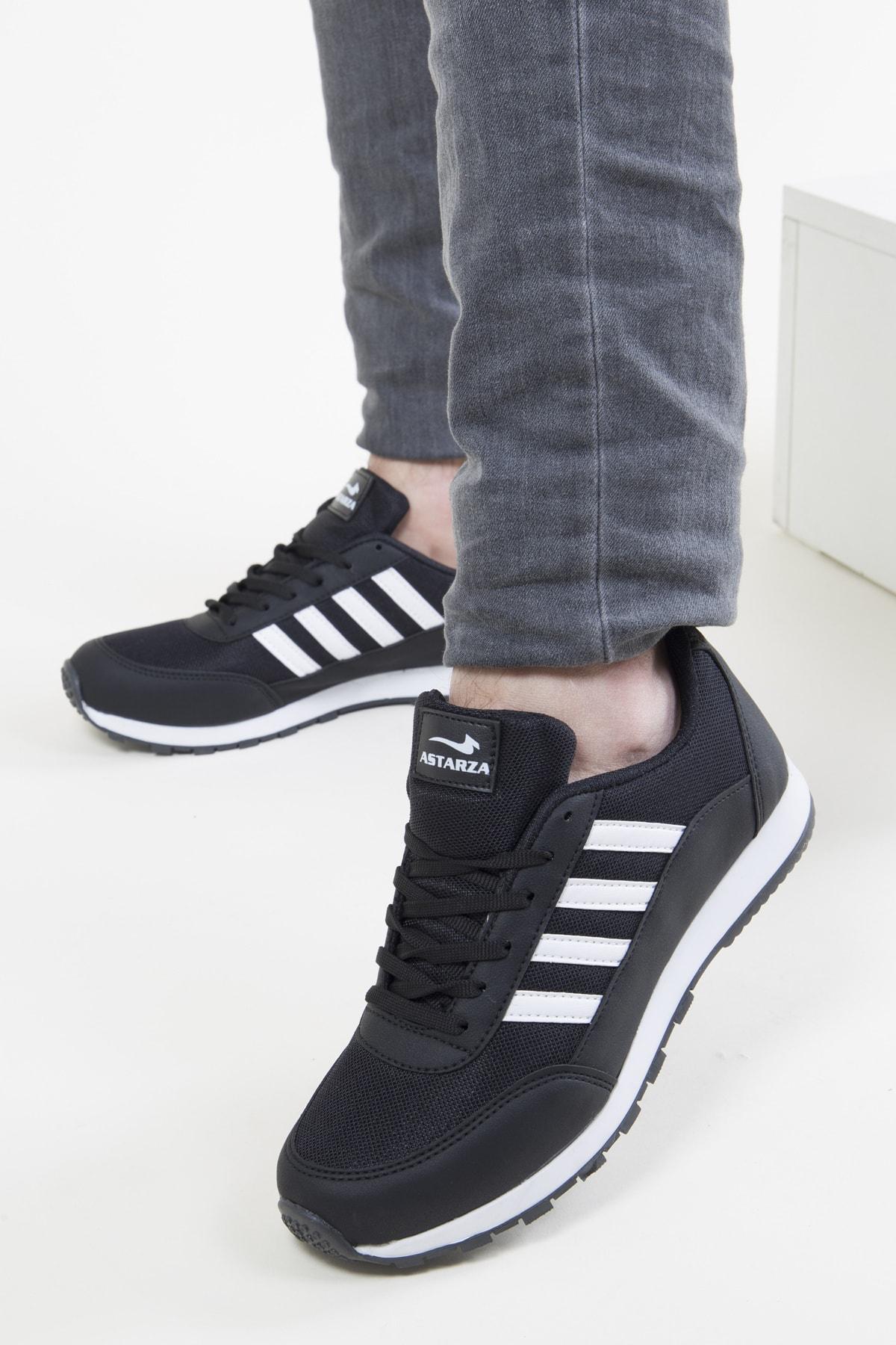 Unisex Siyah Beyaz Spor Ayakkabı