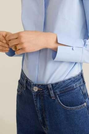 Mango Kadın Gök Mavisi Düğmeli Pamuklu Bluz 41013707 4