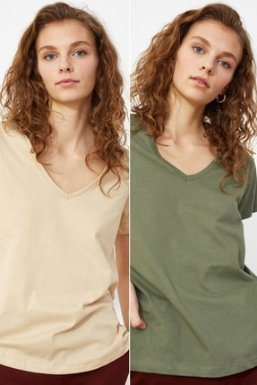 TRENDYOLMİLLA Haki-Bej %100 Pamuk Süprem V Yaka 2'li Paket Örme T-Shirt TWOSS20TS0142 1