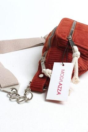 Moda azza Kadın Kırmızı Kadife Bel Çantası 2