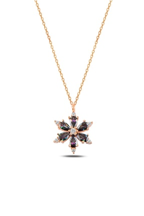 Forenza Silver Kadın 925 Ayar Gümüş Rose Mistik Topaz Taşlı Papatya Kolye 2