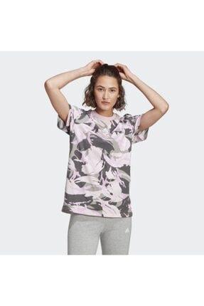 adidas Kadın Pembe Spor T-Shirt Gl7587 W Camo T 1