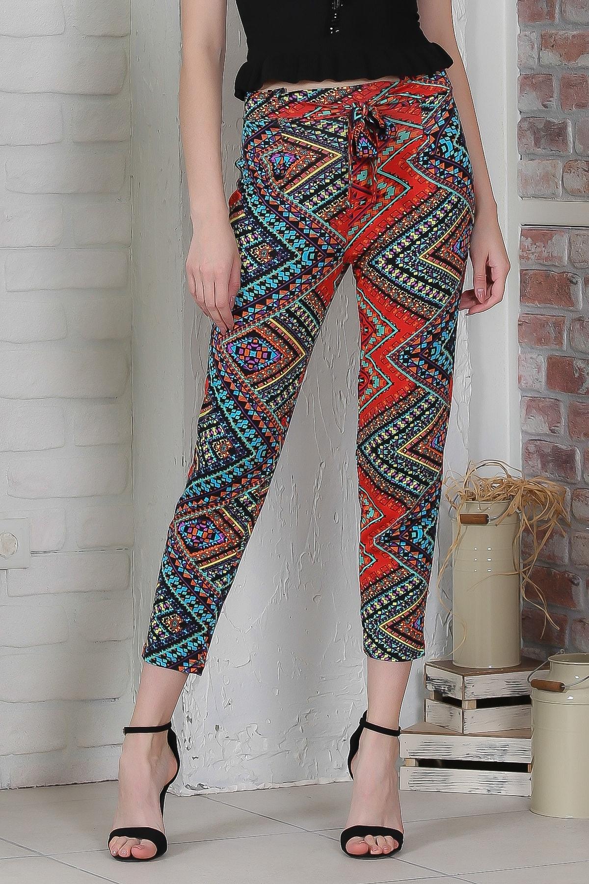 Chiccy Kadın Kırmızı-Siyah Kilim Desenli Bağlamalı Dar Paça Pantolon M10060000PN98923 3