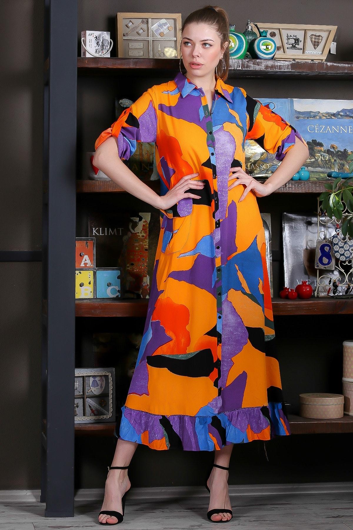 Chiccy Kadın Turuncu-Mavi Kübist Desen Düğme Detaylı Etek Ucu Fırfırlı Uzun Gömlek Elbise M10160000EL95462 1