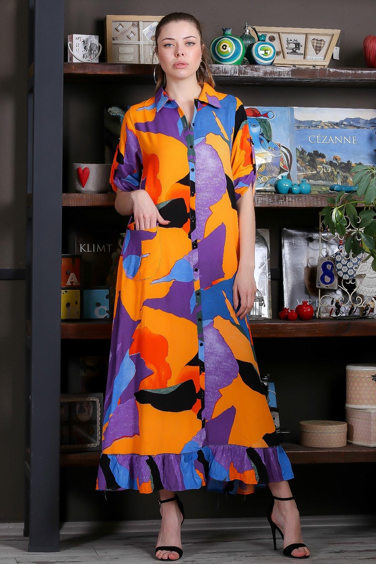 Chiccy Kadın Turuncu-Mavi Kübist Desen Düğme Detaylı Etek Ucu Fırfırlı Uzun Gömlek Elbise M10160000EL95462 2