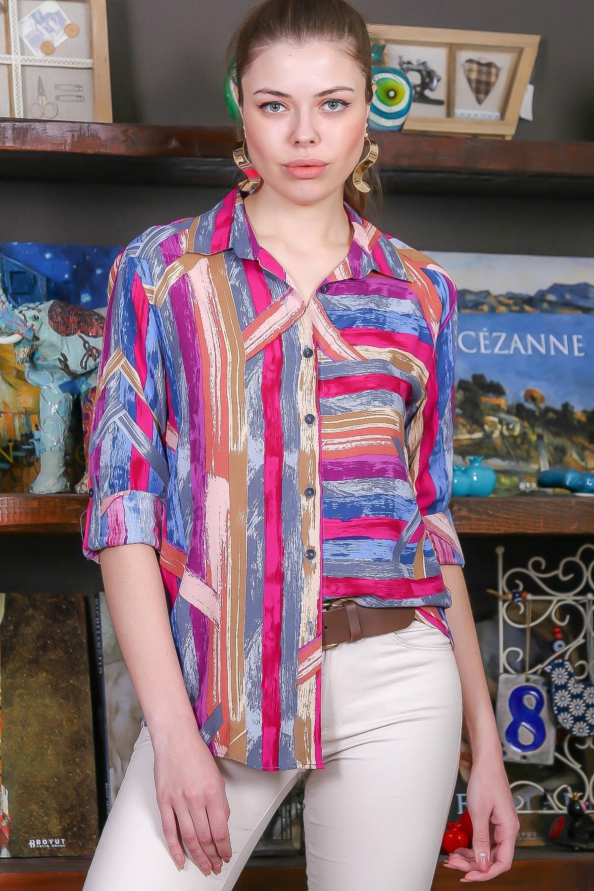 Chiccy Kadın Pembe-Mavi Renkli Çizgi Desenli Kolları Ayar Düğmeli Dokuma Gömlek M10010400GM99441 0