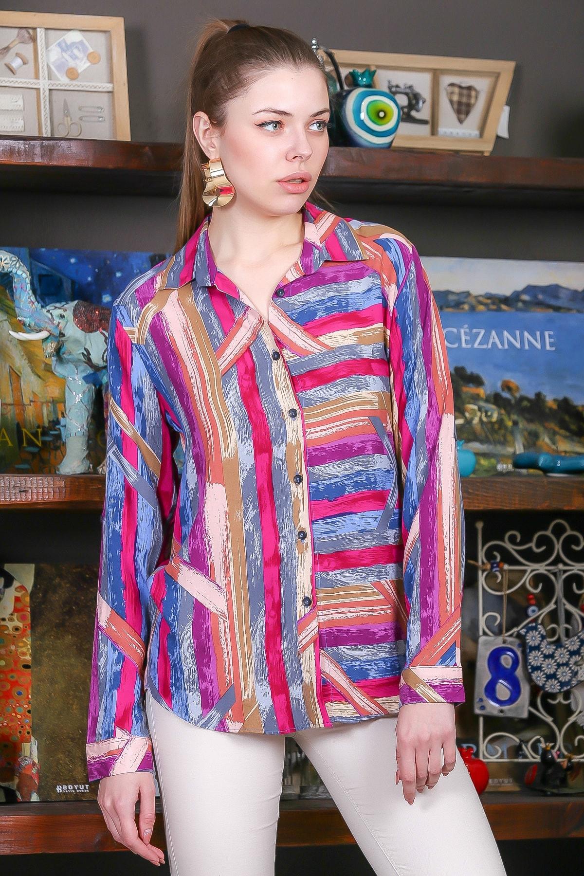 Chiccy Kadın Pembe-Mavi Renkli Çizgi Desenli Kolları Ayar Düğmeli Dokuma Gömlek M10010400GM99441 2