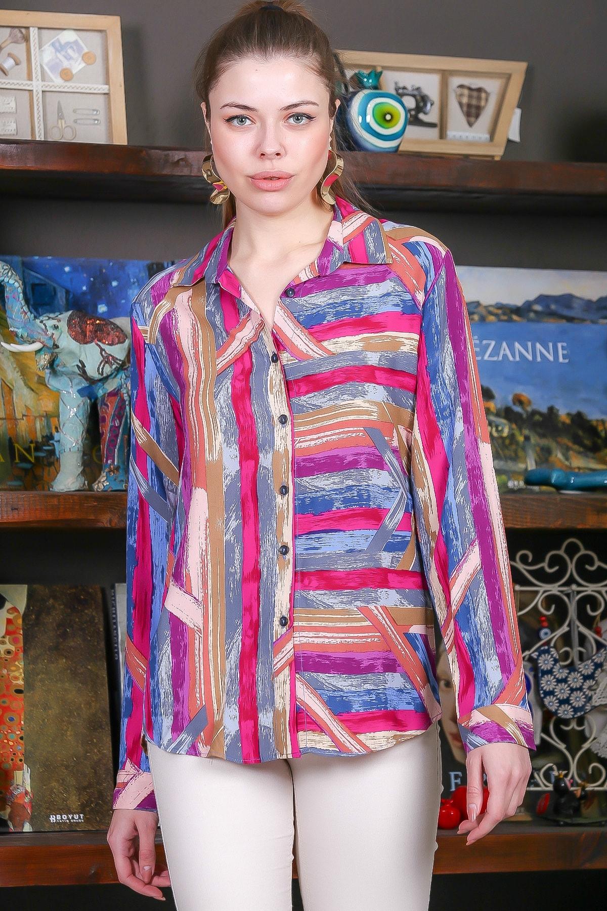 Chiccy Kadın Pembe-Mavi Renkli Çizgi Desenli Kolları Ayar Düğmeli Dokuma Gömlek M10010400GM99441 3
