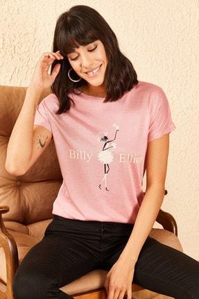 Bianco Lucci Kadın Billy Elliot Baskılı Viskon Tshirt 1