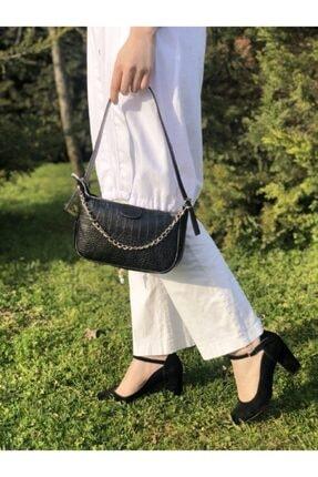 Esila&Sirius Kadın Siyah Kroko Desenli Ince Zincirli Baget Baguette Çanta 2