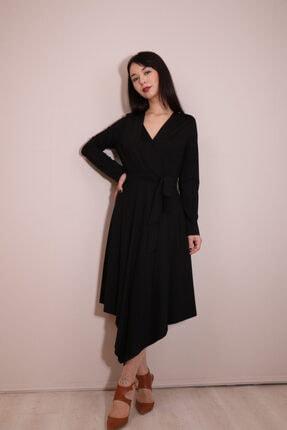 Kadın Siyah Ekol Asimetrik Kesim Jarse Elbise 5198