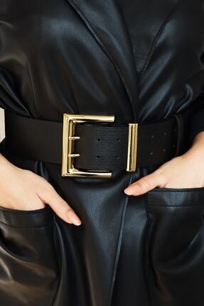 Freya Kadın Gold Tokalı Çift Sıra Siyah Kemer 0