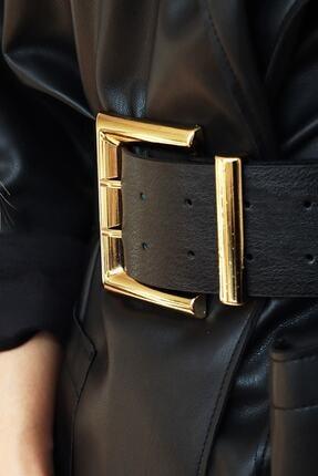 Freya Kadın Gold Tokalı Çift Sıra Siyah Kemer 2