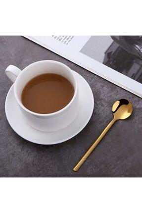 Trend Dünyam 6'lı Gold Çay Kaşığı Kahve Dondurma Tatlı Kek Şeker Kaşık Seti 1