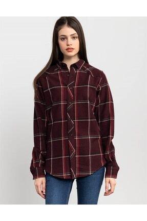 Tudors Slim Fit Unisex Kışlık Kareli Bordo Gömlek 2