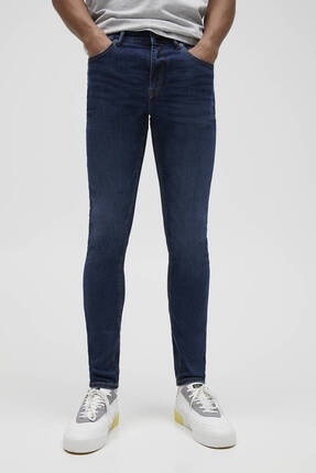 Pull & Bear Erkek Mavi Süper Skinny Fit Jean 2
