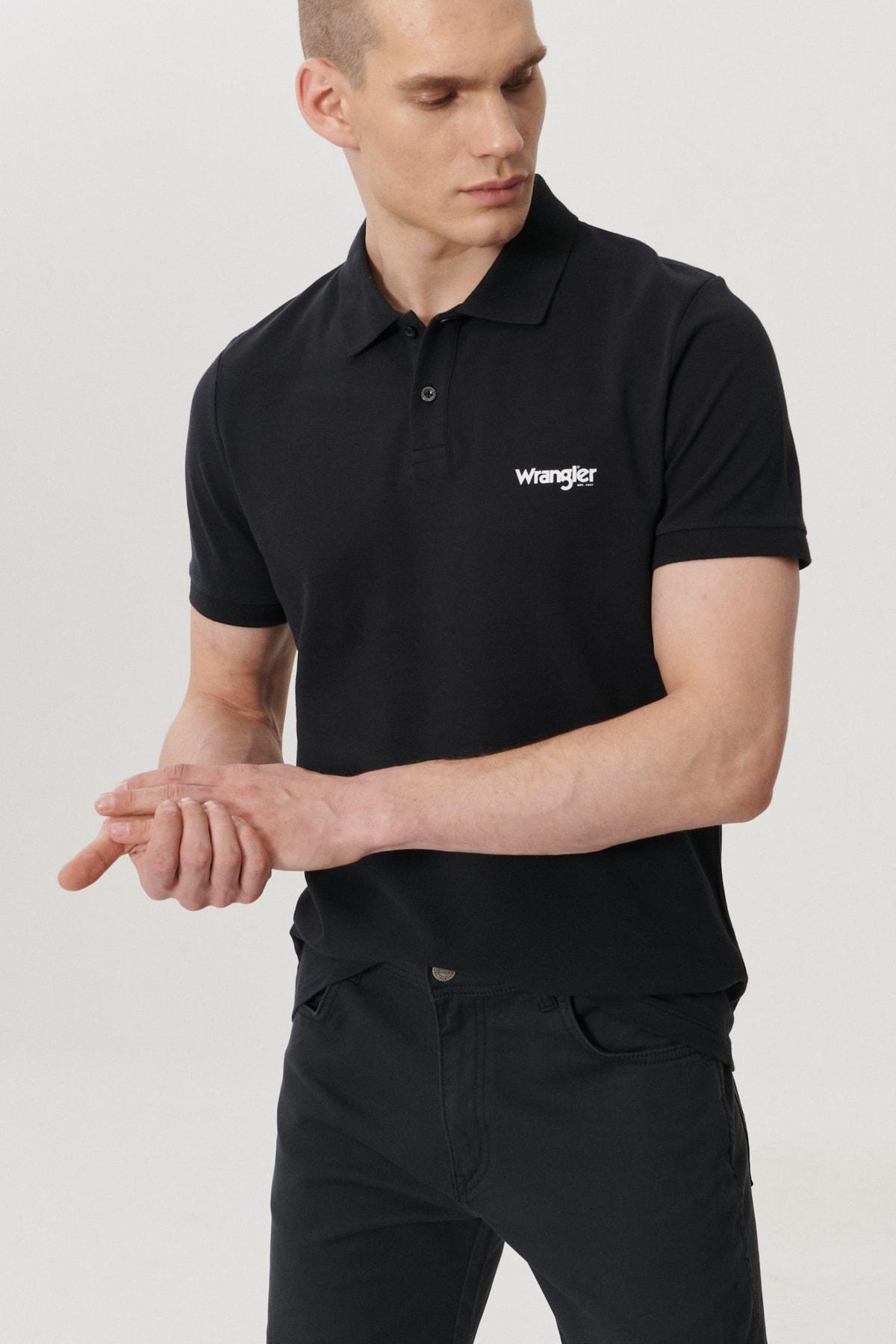 Wrangler Erkek Siyah Regular Fit Polo Yaka T-Shirt 1