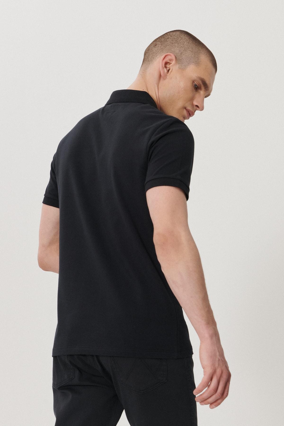 Wrangler Erkek Siyah Regular Fit Polo Yaka T-Shirt 4