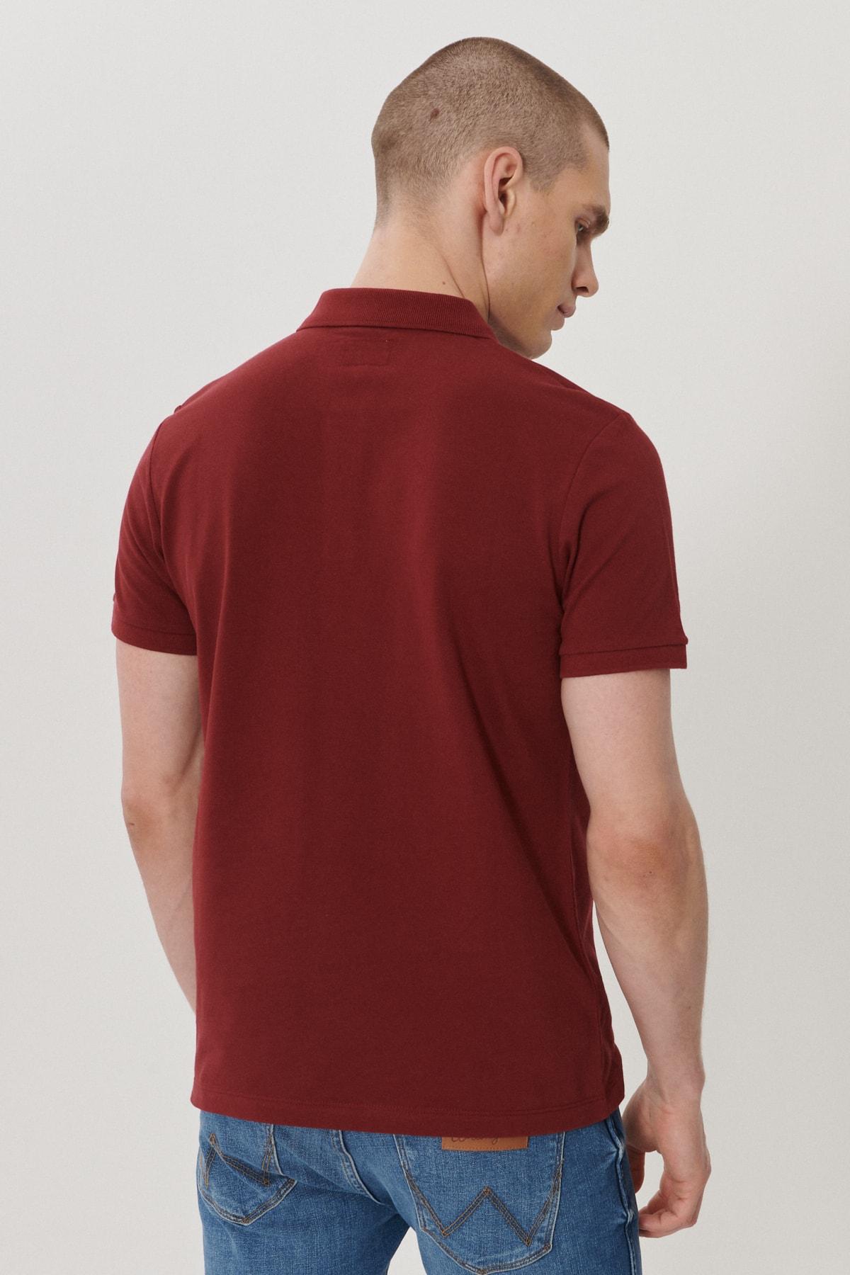 Wrangler Erkek Bordo Regular Fit Polo Yaka T-Shirt 4
