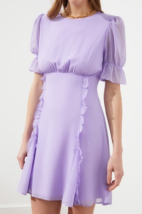 TRENDYOLMİLLA Lila Fırfır Detaylı Şifon Elbise TPRSS21EL0889 2
