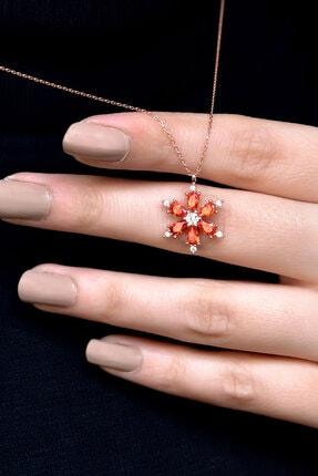 Papatya Silver 925 Ayar Gümüş Turuncu Taşlı Kamelya Çiçeği Kadın Kolye 3