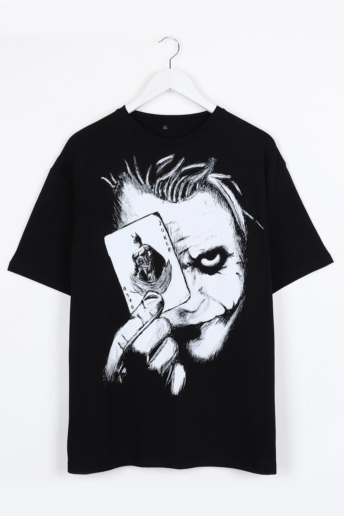 Joker Sırt Baskılı Siyah Oversize Unisex Tshirt