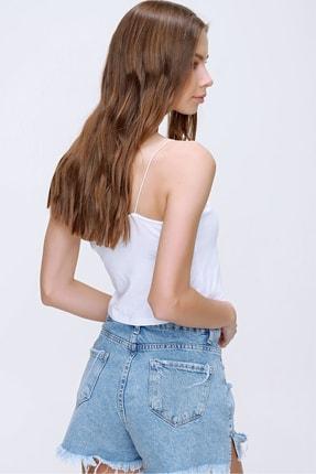 Trend Alaçatı Stili Kadın Beyaz İp Askılı Crop Fit Bluz ALC-X6041 4