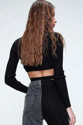 Trend Alaçatı Stili Kadın Siyah Kruvaze Yaka Bağlamalı Crop Bluz ALC-X6059 1