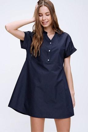 Trend Alaçatı Stili Kadın Lacivert Hakim Yaka Basic Dokuma Elbise ALC-X6053 0