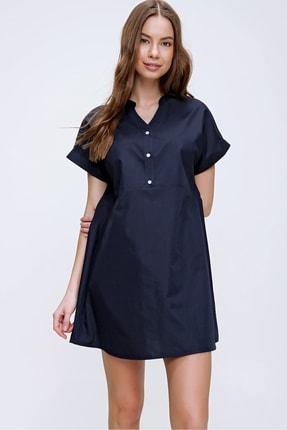 Trend Alaçatı Stili Kadın Lacivert Hakim Yaka Basic Dokuma Elbise ALC-X6053 2