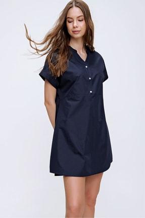 Trend Alaçatı Stili Kadın Lacivert Hakim Yaka Basic Dokuma Elbise ALC-X6053 4