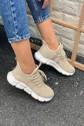 İnan Ayakkabı Kadın Bej Triko Spor Ayakkabı 1