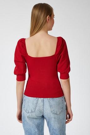 Happiness İst. Kadın Kırmızı Balon Kollu V Yaka Bluz ZV00112 2