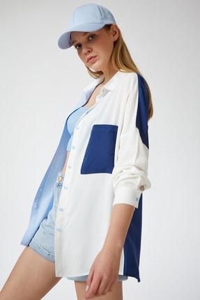 Happiness İst. Kadın Mavi Blok Renkli Oversize Viskon Gömlek DD00843 0